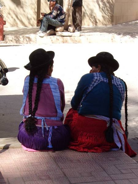 Catching up on the gossip in Tupiza, Bolivia